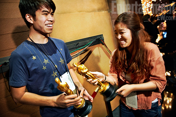 ''Oscar Experience College Search Video Contest'' winners Abe Diaz, 18, of DePaul University and Hearing Ko, 19, of Emerson College