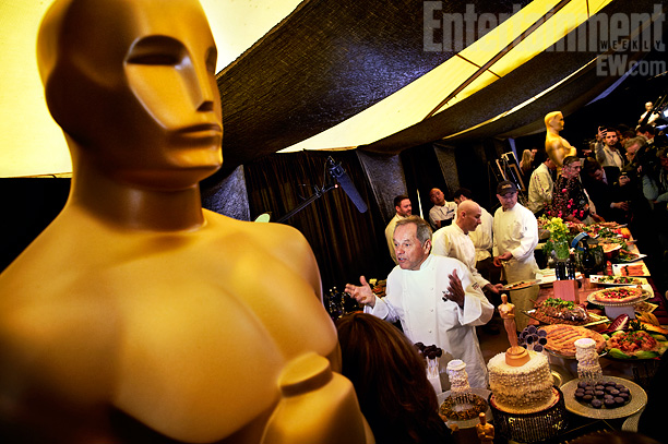Wolfgang Puck with his Oscars creations
