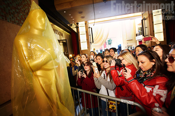 Students from a Texas high school capture the moment outside the Dolby Theater