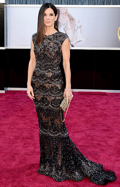 Style, Style: Red Carpet, ... | Bullock may not have been nominated for an award, but she was definitely a winner in this beaded, lace Ellie Saab gown that looked like…