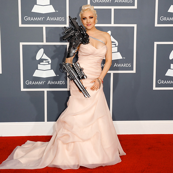 The Russian singer's Grammy look was part prom dress and part cyborg.