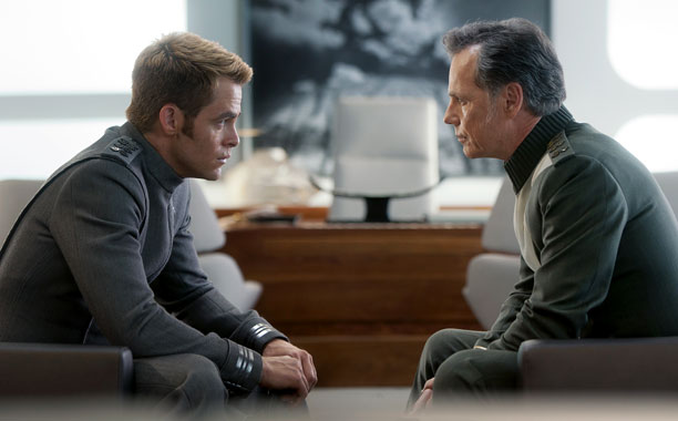 Capt. James T. Kirk (Chris Pine) and Pike (Bruce Greenwood)