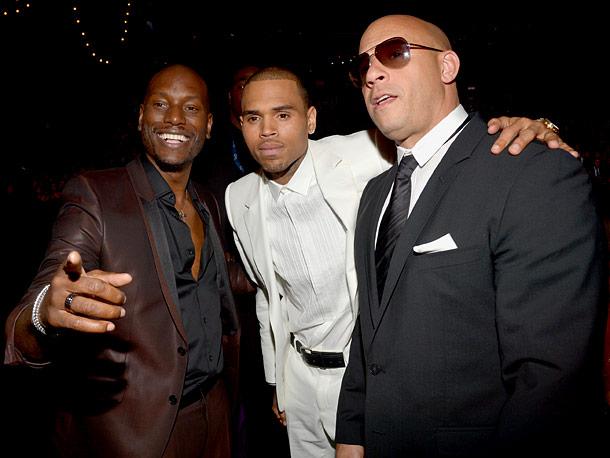 Tyrese Gibson, Chris Brown, and Vin Diesel