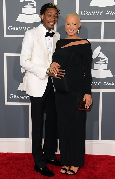 Grammy Awards 2013 | The Khalifa cleaned up rather nicely in a traditional Tom Ford dinner jacket and black bow tie, while Rose looked chic in a jersey dress…