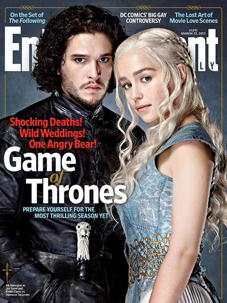 Kit Harington, Emilia Clarke, ... | For the full story on Game of Thrones ' upcoming season, premiering March 31, pick up EW on newsstands or buy it now .