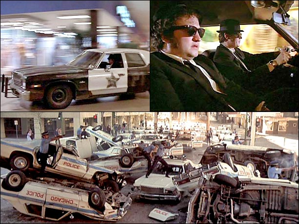 Buried beneath John Belushi and Dan Aykroyd's ex-con comedy lie some of the most death-defying demolition-derby stunts ever choreographed. And why not? They're on a…