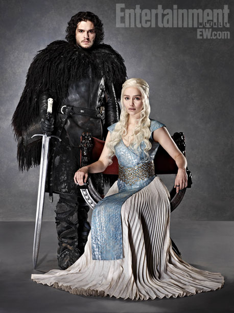 Emilia Clarke, Kit Harington, ... | For the full story on Game of Thrones ' upcoming season, premiering March 31, pick up EW on newsstands or buy it now .