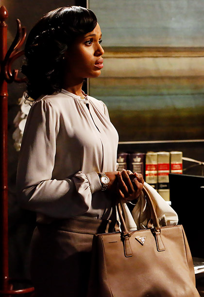 Scandal | Or rather, carries it. ''There was only one purse in the pilot, and I only had Prada on the [inspiration] board because I happened to…