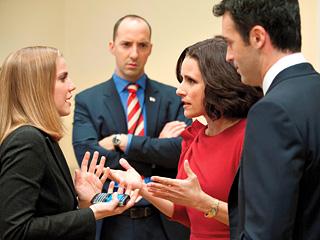 Anna Chlumsky, Julia Louis-Dreyfus, Tony Hale, and Reid Scott in 'Veep'