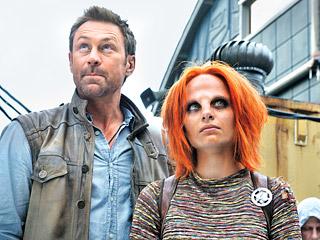 Grant Bowler as Joshua Nolan, Stephanie Leonidas as Irisa in Defiance