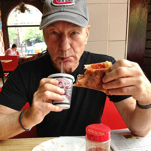 Patrick Stewart Eating Pizza