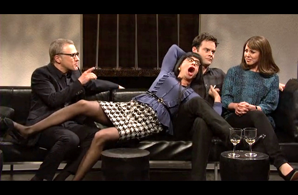 Fred Armisen, Saturday Night Live | Broecker: He's playing the exotic girlfriend who's really not so exotic. He's wearing Louise Brooks hair, and sort of hipster glasses. He is wearing a…