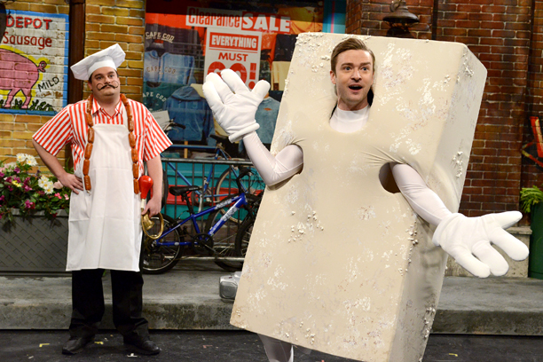 Justin Timberlake, Saturday Night Live | Justian: We have somebody we work with [for Timberlake's mascot costumes], a craftsperson named Bob Flanagan, who helps us create all those costumes. Between the…