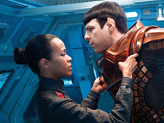 DARK KNIGHTS Zoe Saldana and Zachary Quinto star alongside Chris Pine in the sequel to 2009's Star Trek