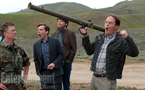 On the heels of his promotion to manager, Dwight apparently realizes another one of his dreams: ''Dwight fires a bazooka,'' says Wilson, ''and you get…