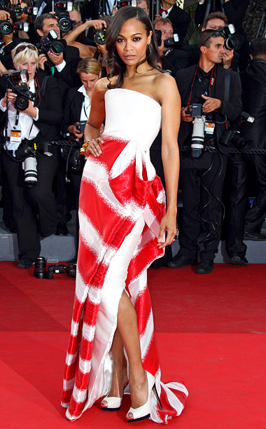 Style, Style: Red Carpet, ... | The Giorgio Armani gown Zoe Saldana wore the 2011 premiere of The Tree of Life made her look like a couture candy cane.