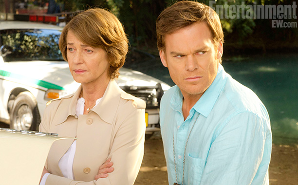 Dr. Evelyn Vogel (Charlotte Rampling) and Dexter Morgan (Michael C. Hall)