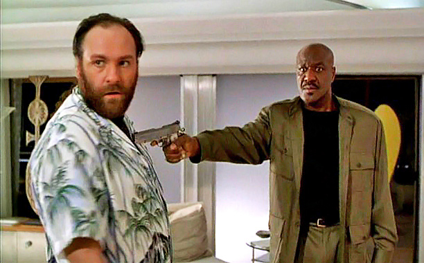 James Gandolfini   Gandolfini (pictured with Delroy Lindo) had a supporting role in this John Travolta crime comedy about the mob in Hollywood, playing a stuntman named Bear.…