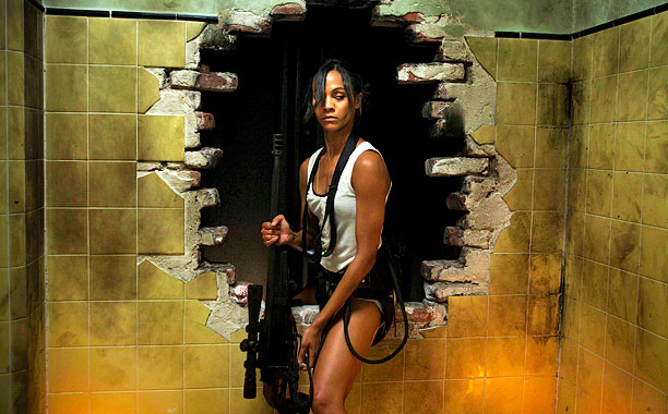 Zoe Saldana, Colombiana | Sure, Saldana's upper body strength may not be up there with Rambo's — but what she lacks in biceps, she more than makes up for…