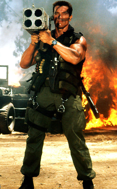 Commando, Arnold Schwarzenegger | Ahnold knows to fight fire with M202A1 FLASH rocket launchers. As you do.