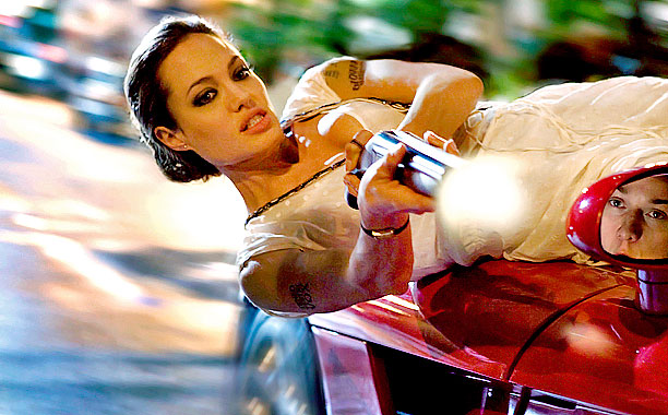 Angelina Jolie, Wanted   This awesome pose (and Jolie's hint of upper-arm bulge) almost makes us forget her scary-skinny appearance in the movie's poster .