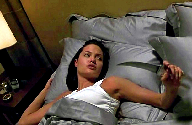 Angelina Jolie, Lara Croft: Tomb Raider | waking up from a power nap — and ready for vengeance. From: Lara Croft: Tomb Raider