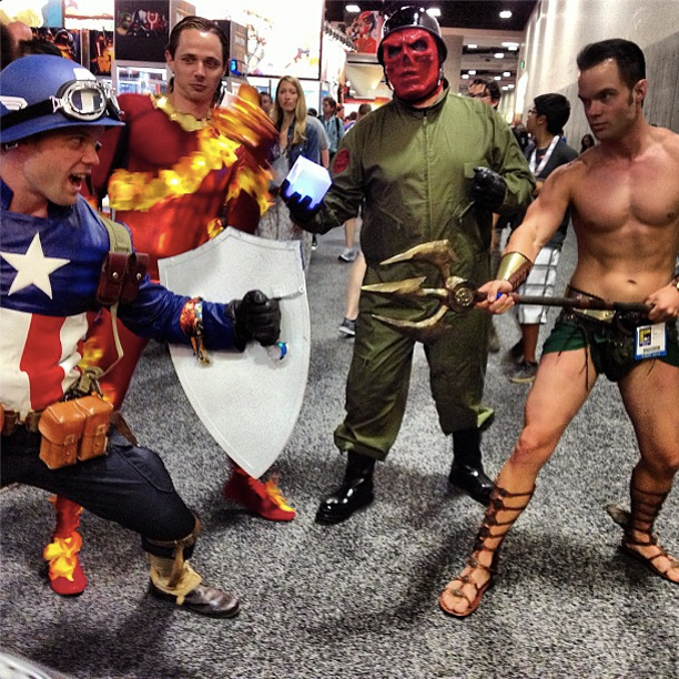 San Diego Comic-Con 2013 | Stumbled upon a super-scrap - Captain America, The Human Torch, Red Skull and the Submariner himself, Namor