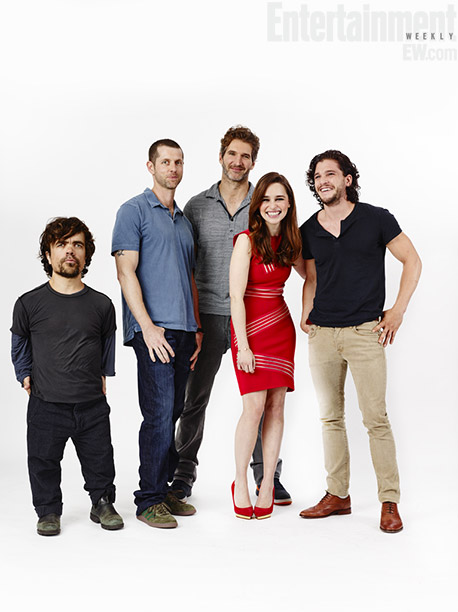 Peter Dinklage, executive producers David Benioff and D.B. Weiss, Emila Clarke, Kit Harington, Game of Thrones