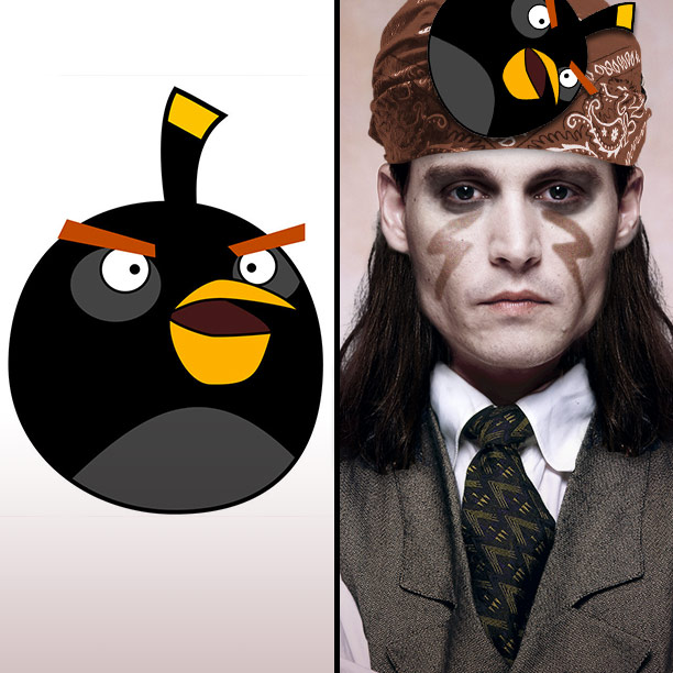 Johnny Depp | We're just missing one tiny detail...eh, let's just slap on an Angry Bird.