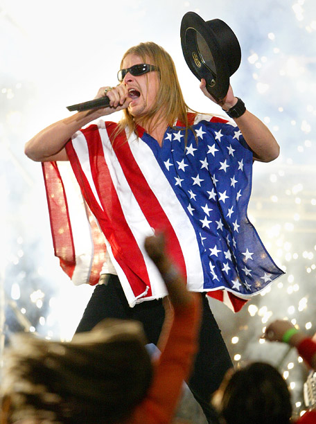 Style, Style: Red Carpet, ... | Self-anointed ''American Bad Ass'' Kid Rock wore the flag as a poncho when he performed during the Super Bowl XXXVIII halftime show in Houston, Texas,…
