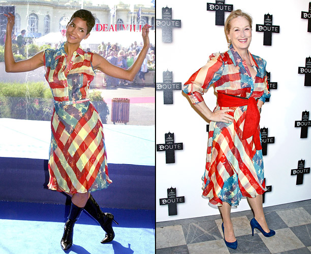 Style, Style: Red Carpet, ... | Best actress Oscar winners think alike! Both Halle Berry and Meryl Streep walked the red carpet in Catherine Malandrino's American flag dress — Berry wore…