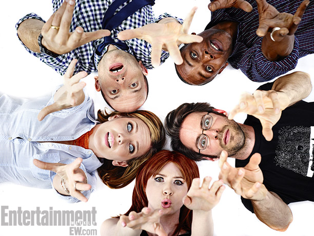 (Clockwise from left) June Diane Raphael, Paul Sheer, Brandon Johnson, Martin Starr, and Karen Gillan, NTSF:SD:SUV
