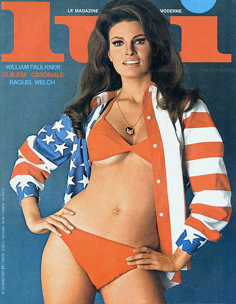 Style, Style: Red Carpet, ... | Nothing says ?All-American girl? more than a stars-and-stripes jacket and a little underboob. Sex symbol Raquel Welch represented the U.S.A. on the March 1967 cover…