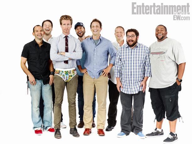 Writer Judd Winick, Ike Barinholtz, Josh Meyers, Taran Killam, Seth Meyers, co-creator Mike Shoemaker, Bobby Moynihan, Kenan Thompson, The Awesomes