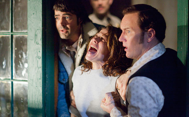 MORE SCREAM TIME Ron Livingston as Roger Perron, Lili Taylor as Carolyn Perron, and Patrick Wilson as Ed Warren in The Conjuring