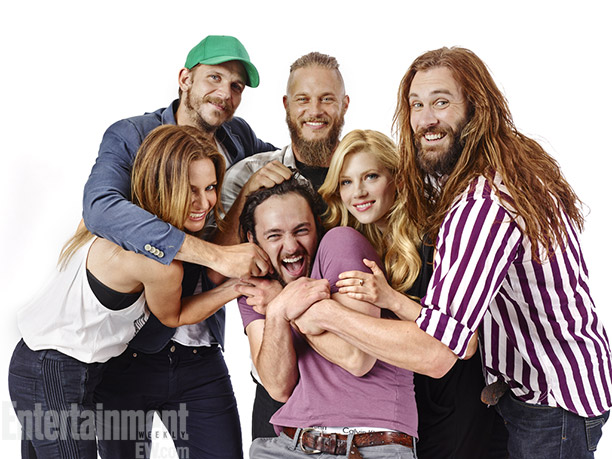 (Clockwise from left) Jessalyn Gilsig, Justaf Skarsgard, Travis Fimmel, Katheryn Winnick, Clive Standen, and George Blagden, Vikings