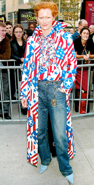Style, Style: Red Carpet, ... | Known for her ''WTF is she wearing?!'' ensembles, Swinton looked like a sartorial superhero when she donned a U.S. flag print shirt and matching jacket…