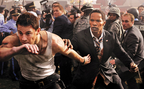 BRINGING DOWN THE HOUSE Channing Tatum defends Jamie Foxx in the latest offering from Roland Emmerich