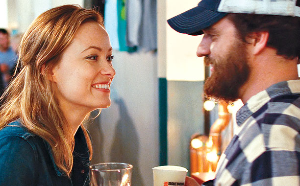 IMMA BUY YOU A DRANK Olivia Wilde and Jake Johnson square off as friends with no benefits but lots of tension in Drinking Buddies