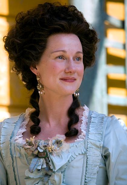 Laura Linney, John Adams | Laura Linney donned period garb to play John Adams' main squeeze, Abigail, in the 2008 HBO miniseries John Adams .