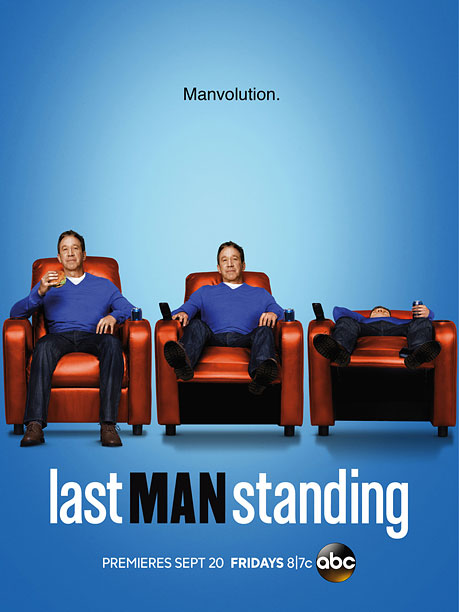 Helpfully shows the process of a typical viewer watching this sitcom. Fair warning: ''Manvolution'' is not the worst tagline you'll see in this gallery. C-