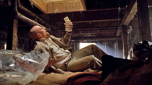 "Walt discovers that the money in the crawl space is missing (season 4) ""That shot of him laughing maniacally down in the crawl space —…"