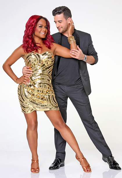 Mark Ballas, Christina Milian, ... | Eyes off her mirrorballs, sir! The color is all wrong.