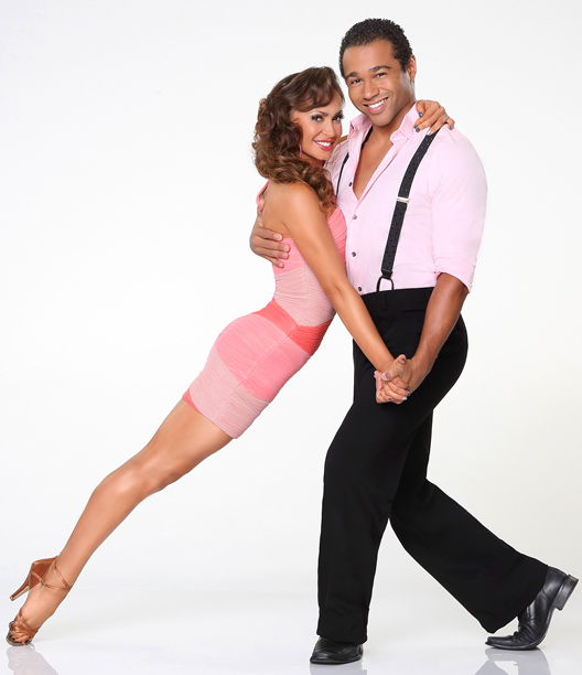Corbin Bleu, Karina Smirnoff, ... | The most striking partner pose of the bunch. A Disney kid disguised as an old guy? What could go wrong?