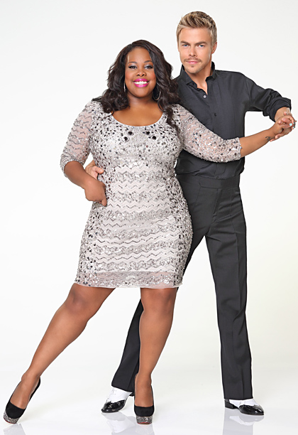 Amber Riley, Derek Hough, ... | Now that's what I call a subtle nod to the COVETED MIRRORBALL TROPHY! Plus, Derek has stolen Mark's signature spats. They clearly have an early…