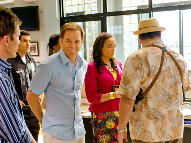 Michael C. Hall, Desmond Harrington, Lauren Velez, and David Zayas (season 7, episode 12)