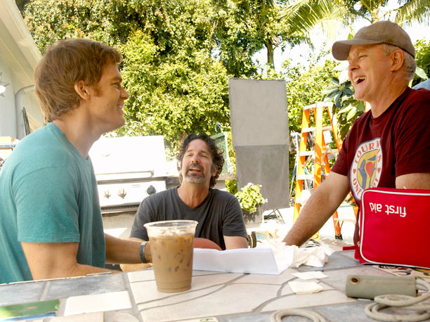 Michael C. Hall, director Romeo Tirone, and John Lithgow (season 4, episode 6)
