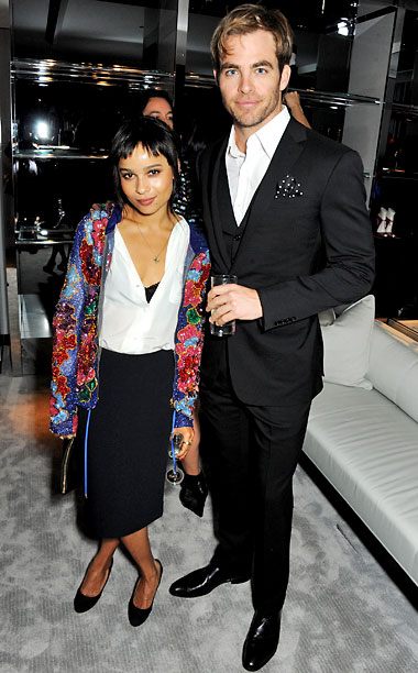 Chris Pine and Zoë Kravitz at Tom Ford's London flagship store launch party