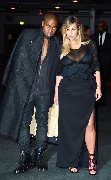 Kanye West and Kim Kardashian at the Givenchy show in Paris
