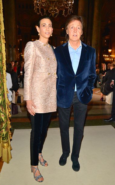 Paul McCartney and wife Nancy Shevell at the Stella McCartney show in Paris